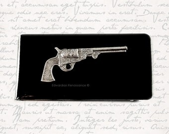 Pistol Money Clip Steampunk Neo Victorian Dragoon Revolver Inlaid in Hand Pianted Enamel Custom Color and Personalized Option