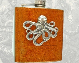 Steampunk Antique Silver Octopus Flask Inlaid in Hand Painted Copper Blast Neo Victorian Kraken Custom Colors and Personalized Options