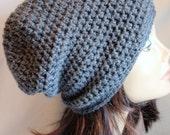 Women's Hat Crochet Chunky Slouchy Grey Gray Beanie Slouch Hat Fall Winter Accessories Beanie Autumn Fashion