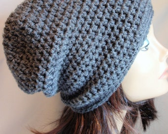 Women's Hat Crochet Chunky Slouchy Grey Gray Beanie Slouch Hat Fall Winter Accessories Beanie Autumn Fashion