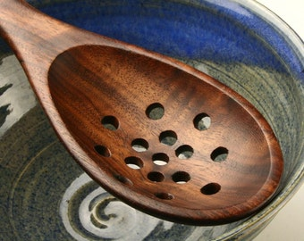 wooden spoon colander spoon strainer spoon kitchen utensil of Black Walnut