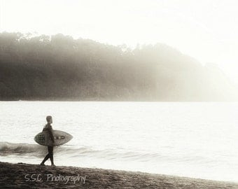 Surfer photo. beach photography. ocean. foggy shore. San Francisco Baker Beach. Beach home decor. sea. black and white