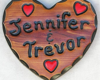 "CedarCutts Rustic Custom Carved 8"" x 8"" x 1"" Heart Shape Red Cedar Wood Sign"
