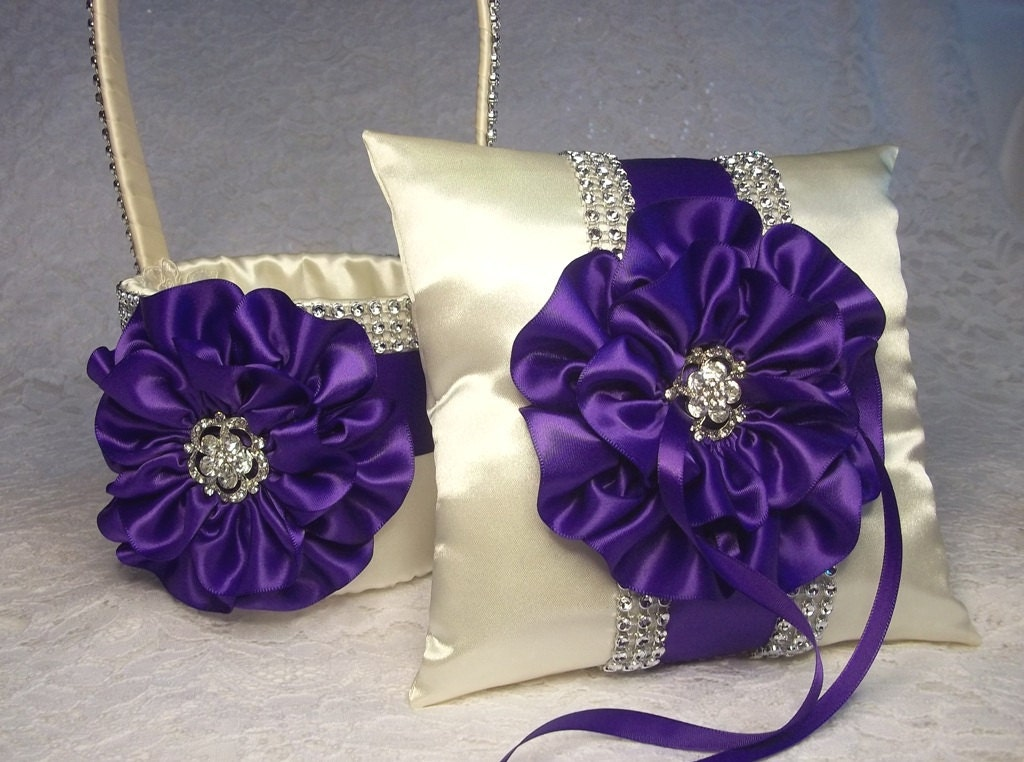 Flower Girl Baskets And Ring Pillows : Flower girl basket ring bearer pillow ivory and royal