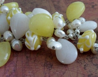 Lemon Jade, Snow Quartz, Art Glass & Pearl Beaded NECKLACE / YELLOW and WHITE / Intricate Beaded Necklace / Summery / Unique Gift for Her
