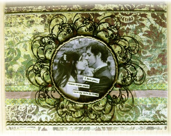 "love greeting card, handmade, vintage look, mixed media:""Those Three Words"""