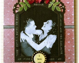 """love greeting card, handmade, vintage look, mixed media: Forever Yours"""""""