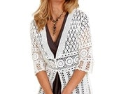 Crocheted sweater tunic coats cardigan made to order, crochet handmade - dosiak