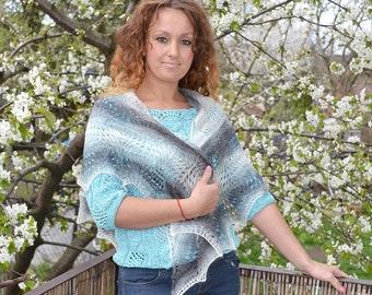 Gray knitted shawl scraf - very delicate gray cream black soft unique