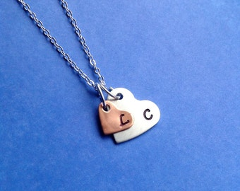 Double Heart Initial Necklace -Couples Gift, Mother Daughter Gift- Copper and Aluminum Hearts