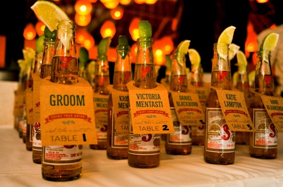 Beer Bottle Escort Cards - Mexican, Beach or BBQ Theme