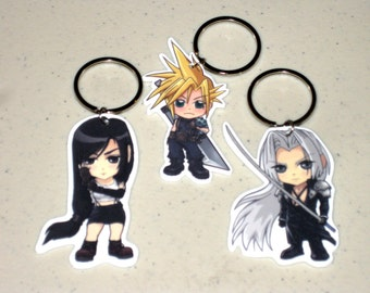 Chibi Cloud, Tifa or Sephiroth - Final Fantasy VII / Advent Children - Keychain, Charm, Necklace, Earrings