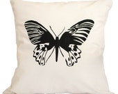 Cushion Cover - Butterfly B Black & White Screen Printed 16 x 16 inches (40cm x 40cm)