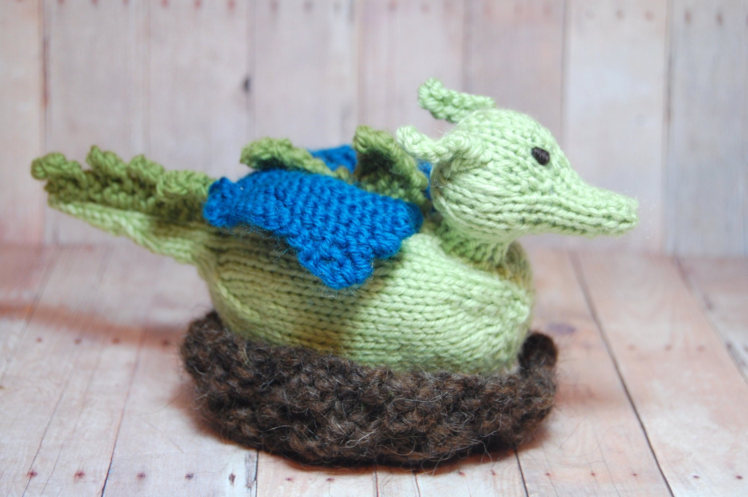 Knit Dragon Waldorf Toy Dragon Hatchling in Nest