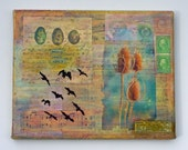 mixed media art collage, vintage papers, birds, eggs, nature