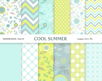 Digital Paper Modern pack in Aqua and Lime Green, digital backgrounds - 12 jpg files 12x12 INSTANT DOWNLOAD 479