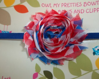 4th of July, Military Baby, USA, Patriotic Red White Blue Shabby Frayed Chiffon Flower Headband Babies Toddlers Girls