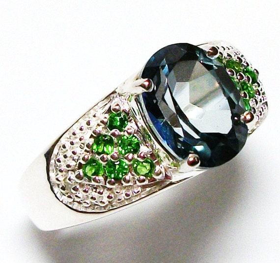 "London blue topaz , cocktail ring, blue , green,  ring s7    ""Green Glimmer"""