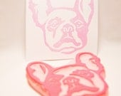 French Bulldog Stamp - Pied Frenchie Dog Hand Carved Rubber Stamp
