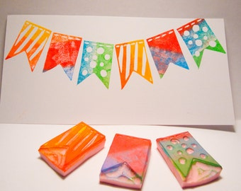 Bunting Flags Rubber Stamp Set - Three Hand Carved Stamps