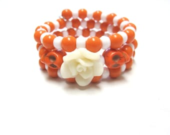 Sugar Skull Bracelet Day Of The Dead Jewelry Orange White Rose