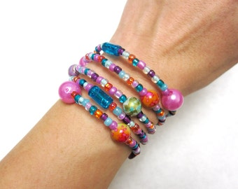 Balloon Bubbles Bracelet Purple Blue Pink Orange Wrap Cuff
