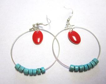 Hoop Earrings Red Enamel Earrings Turquoise Blue & Red Jewelry