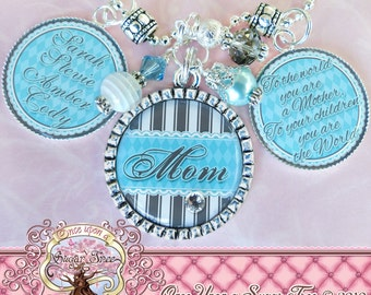 Mom Grandma Nana NECKLACE (or Key Chain), Triple Pendant, BLUE GREY, Children's Names, Bottle cap, Mother, Gift, Inspirational Quote