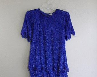 cobalt blue BEADED silk wiggle dress with zig zag tiered hem- amazing GATSBY style vintage- small SALE