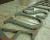 """Any 6 (SIX)  Distressed 8"""" wooden letters painted--Any word-Any color"""