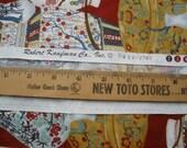 "Vases & Plates Oriental Treasures fabric Robert Kaufman No. EV-2763 Cotton Quilt Fabric 2 Yards 44""W x 78""L yardage Home Decor Red Mint gold"