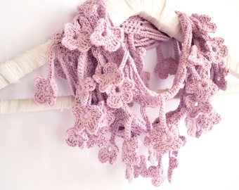Floral Scarf, Lavender Purple Scarf, Egyptian Cotton Crochet Scarf
