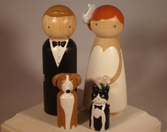 Custom Wedding Cake Toppers with Two Pets Fully Customizable---3-D Accents