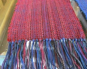 Handwoven Red Chenille Scarf