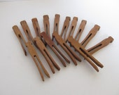 Set of 15 Vintage Wood Clothspins--Collectible Clothespins--Crafting Clothespins