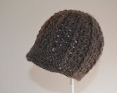 Dark Gray Newsboy Hat in Natural Alpaca for Newborn