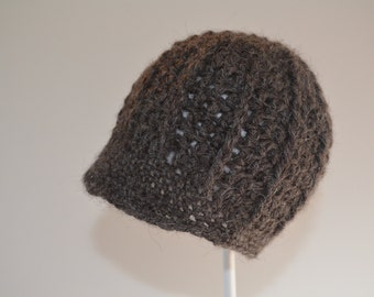 Dark Gray Newsboy Hat in Natural Alpaca for Newborn