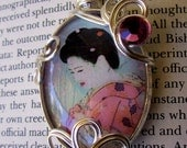 SALE-Vintage Pink Geisha Pendant (N198) - Wire Wrapped with Swarovski Crystal