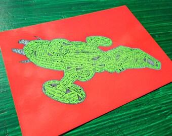 Christmas spaceship postcard firefly inspired