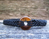 Handmade Micro Macrame Bracelet with Tiger Eye Donut Stone