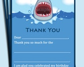 Automatic Download - Shark Thank You Notes Printable - Boy's Pool Party, Swim Party