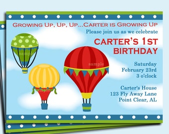 Hot Air Balloon Invitation Printable or Printed with FREE SHIPPING - Up, Up and Away