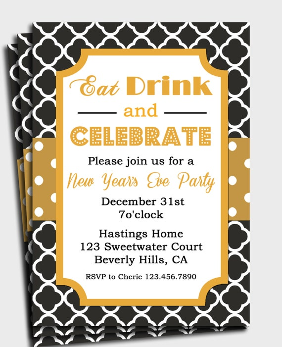 Black and Gold Invitation Printable or Printed by ...
