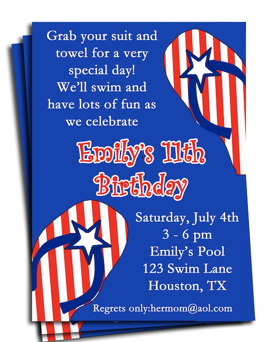 fourth of july pool party invitation printable or printed with, Birthday invitations