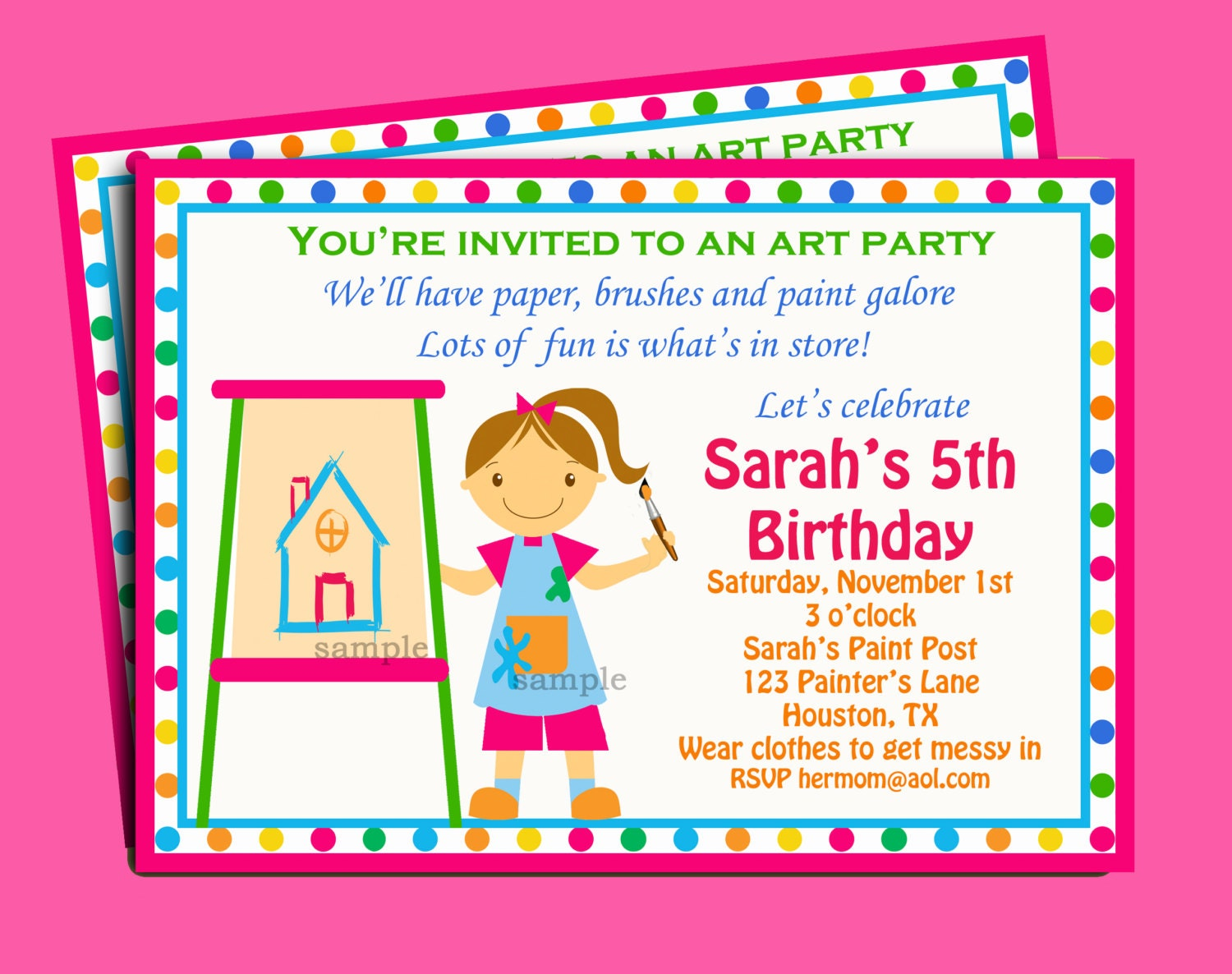 Painting Art Party Birthday Invitation Printable or Printed – Painting Birthday Invitations