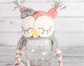 Wool Sleepy Owl Beanie Newborn up to 4T   MADE TO ORDER