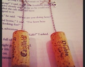 Wine Yoga Dangle Earrings with Cork and Ohm