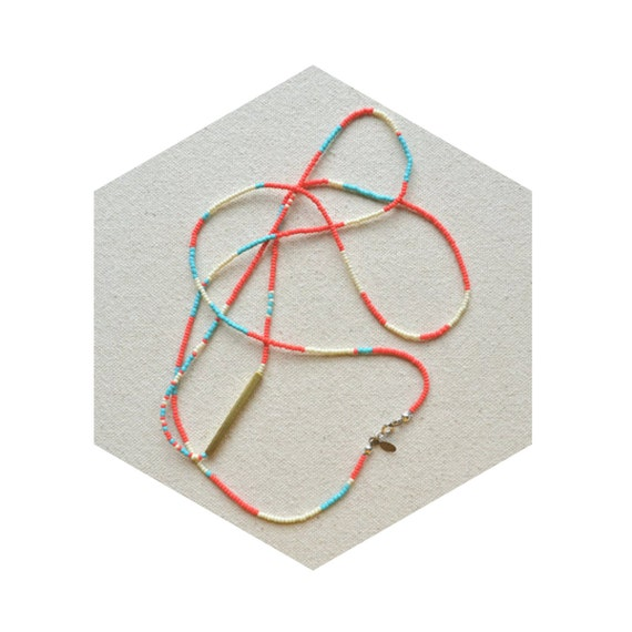 HALF OFF rNA Strand Series- One of a Kind Necklace/Bracelet with Hand Cut Brass in Coral Palette