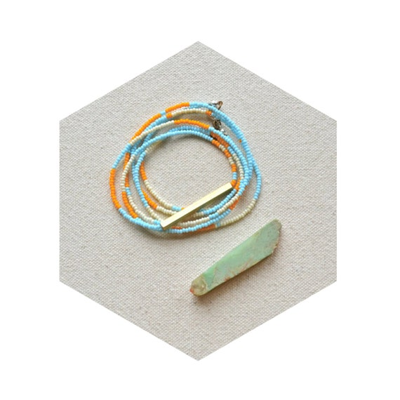 HALF OFF rNA Strand Series- One of a Kind Necklace or Bracelet with Hand Cut Brass in Powder Palette