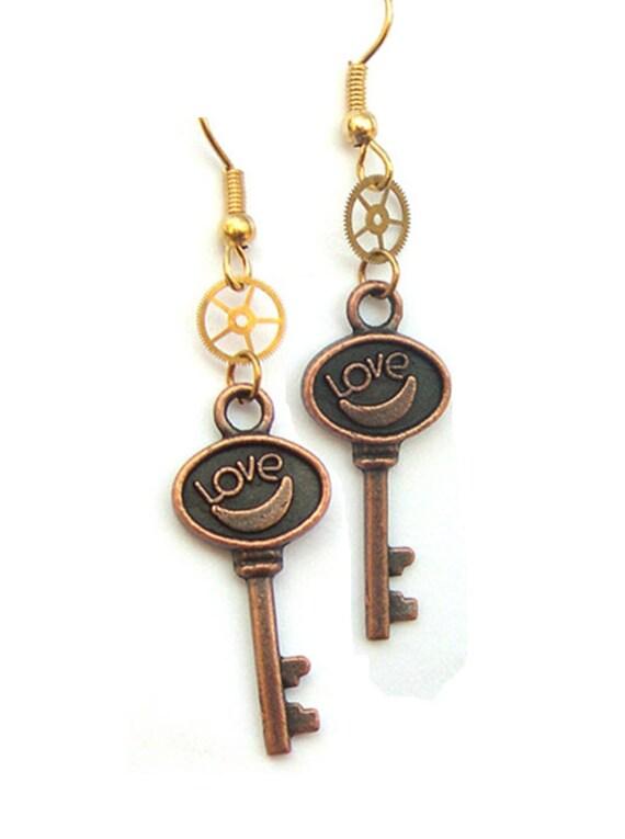 Handmade Love Keys Steampunk Gears Dangle Bronze Key Earrings, dangle key earrings, steampunk earrings , upcycled, recycled, key jewelery